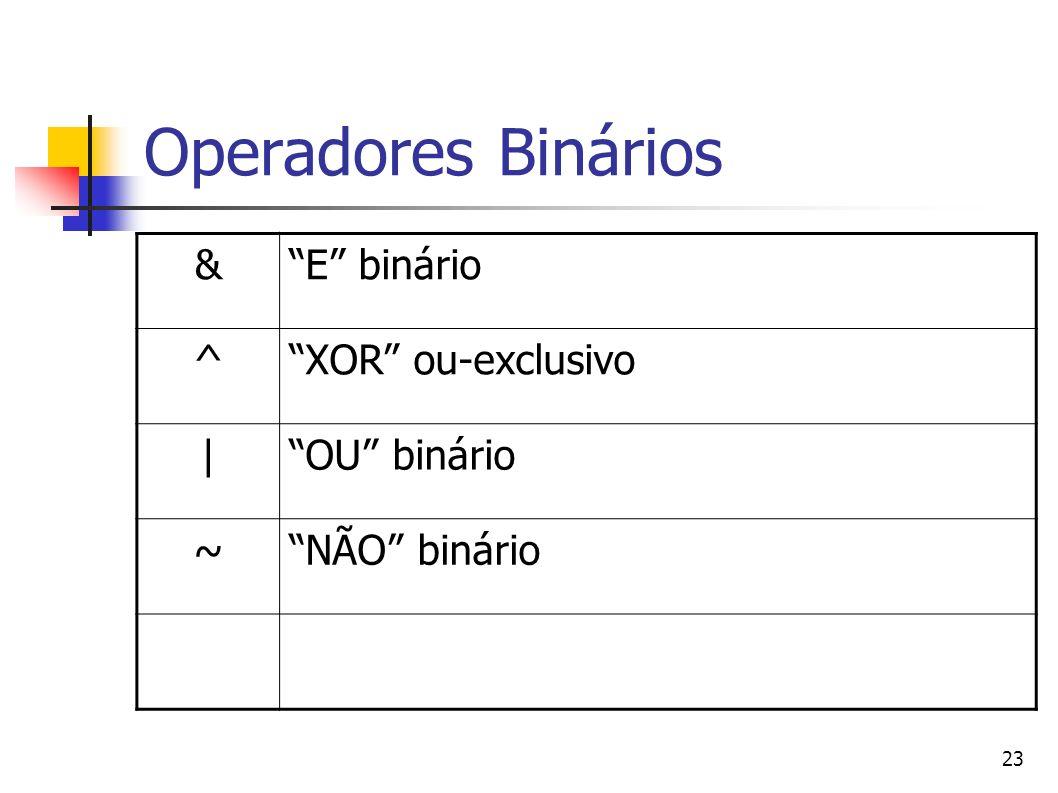 23 Operadores Binários &E binário ^XOR ou-exclusivo  OU binário ~NÃO binário