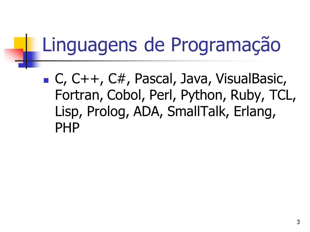 3 Linguagens de Programação C, C++, C#, Pascal, Java, VisualBasic, Fortran, Cobol, Perl, Python, Ruby, TCL, Lisp, Prolog, ADA, SmallTalk, Erlang, PHP