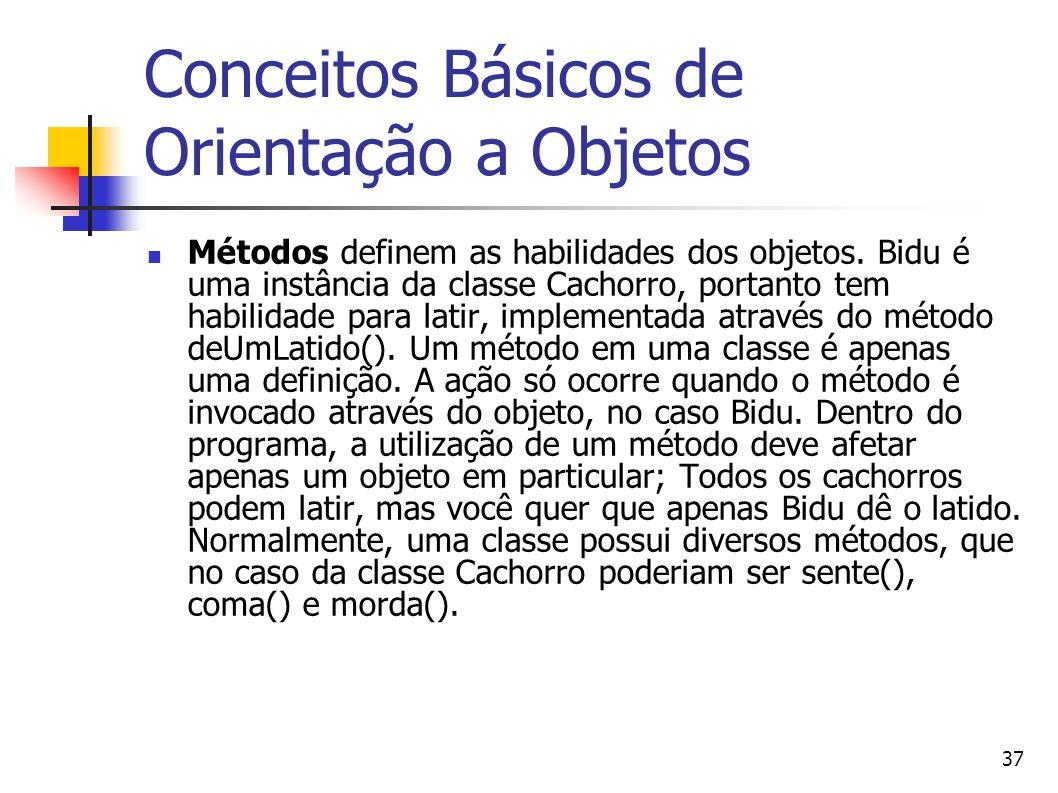 37 Conceitos Básicos de Orientação a Objetos Métodos definem as habilidades dos objetos. Bidu é uma instância da classe Cachorro, portanto tem habilid