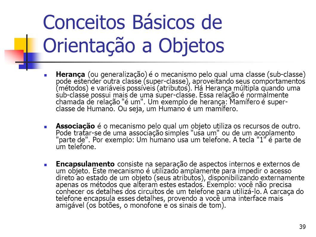 39 Conceitos Básicos de Orientação a Objetos Herança (ou generalização) é o mecanismo pelo qual uma classe (sub-classe) pode estender outra classe (su