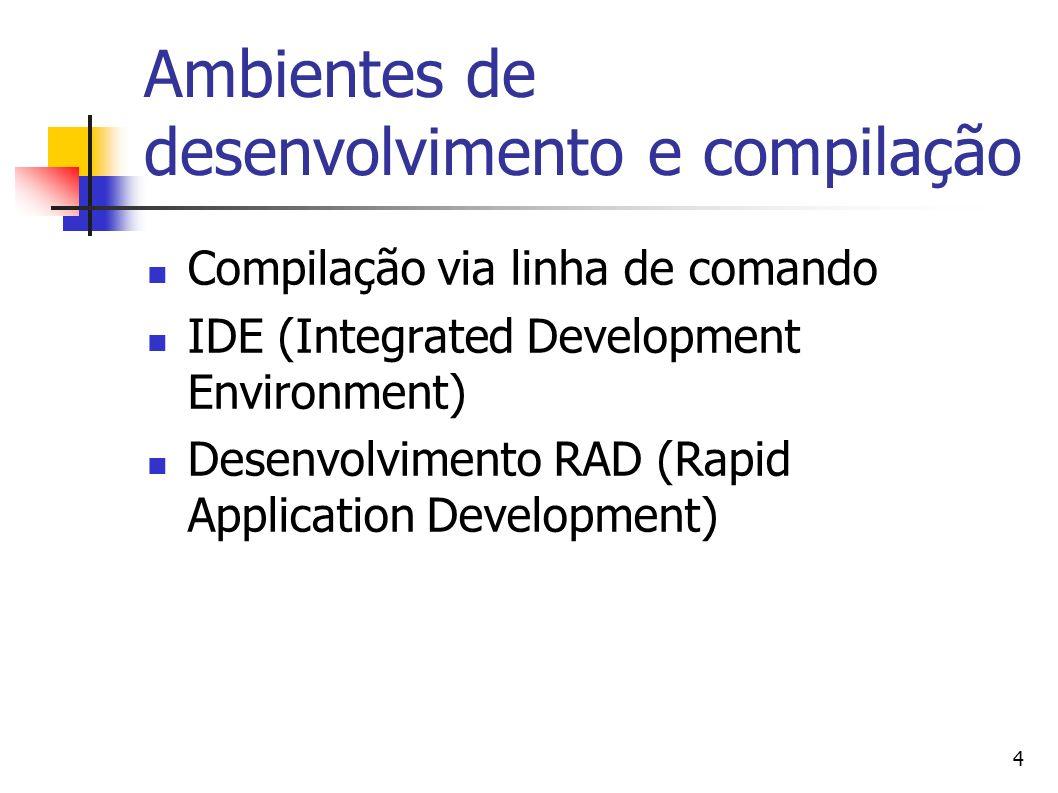 4 Ambientes de desenvolvimento e compilação Compilação via linha de comando IDE (Integrated Development Environment) Desenvolvimento RAD (Rapid Applic