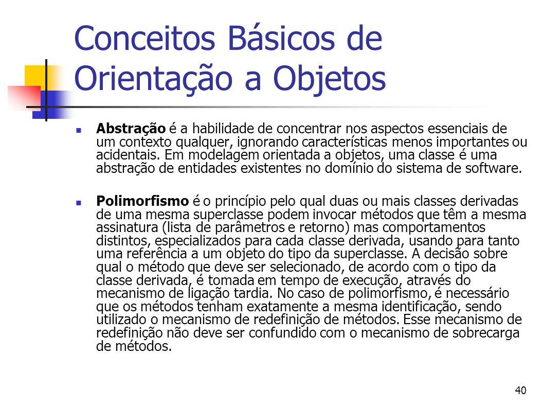 40 Conceitos Básicos de Orientação a Objetos Abstração é a habilidade de concentrar nos aspectos essenciais de um contexto qualquer, ignorando caracte