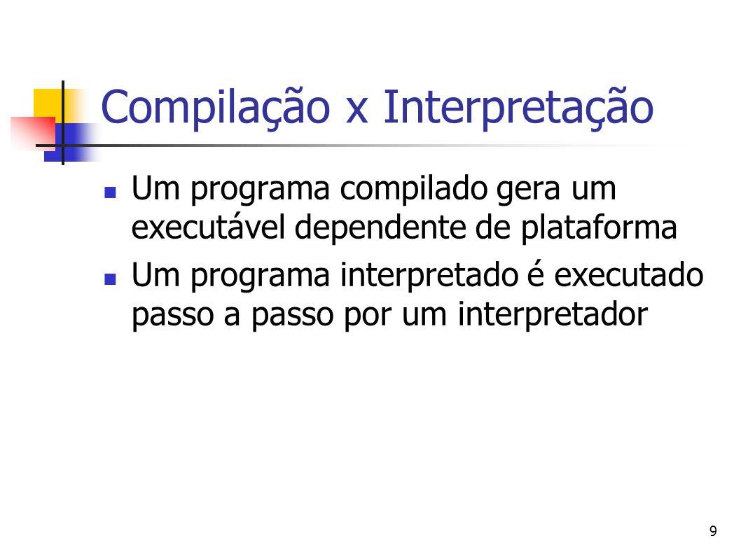 9 Compilação x Interpretação Um programa compilado gera um executável dependente de plataforma Um programa interpretado é executado passo a passo por