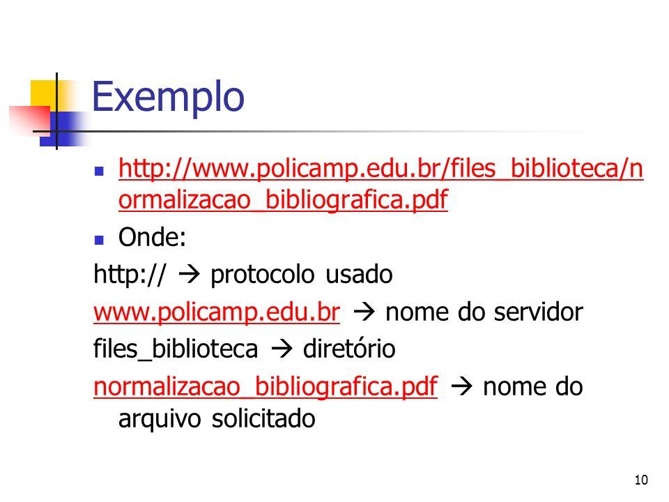 10 Exemplo http://www.policamp.edu.br/files_biblioteca/n ormalizacao_bibliografica.pdf http://www.policamp.edu.br/files_biblioteca/n ormalizacao_bibli