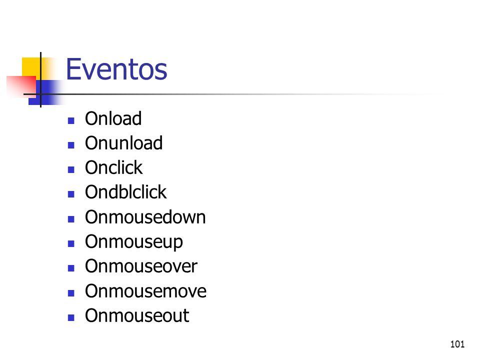 101 Eventos Onload Onunload Onclick Ondblclick Onmousedown Onmouseup Onmouseover Onmousemove Onmouseout