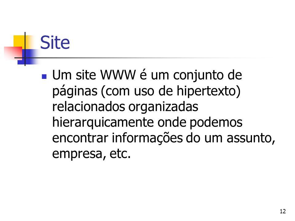 12 Site Um site WWW é um conjunto de páginas (com uso de hipertexto) relacionados organizadas hierarquicamente onde podemos encontrar informações do um assunto, empresa, etc.