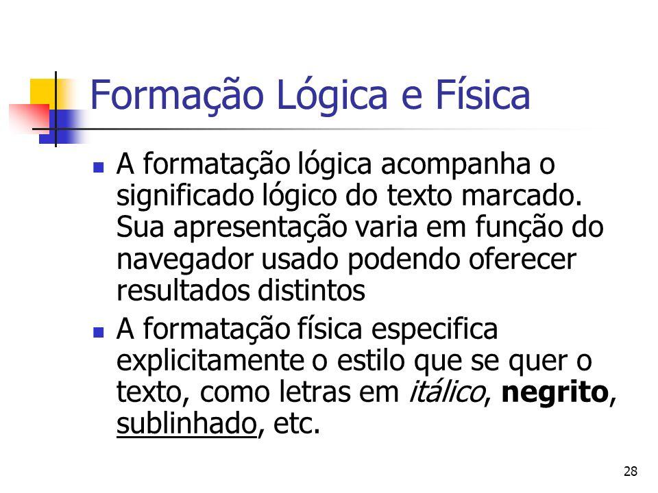 28 Formação Lógica e Física A formatação lógica acompanha o significado lógico do texto marcado.