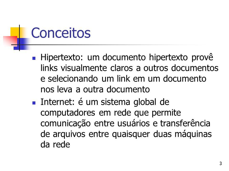 3 Conceitos Hipertexto: um documento hipertexto provê links visualmente claros a outros documentos e selecionando um link em um documento nos leva a o