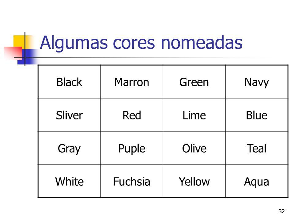 32 Algumas cores nomeadas BlackMarronGreenNavy SliverRedLimeBlue GrayPupleOliveTeal WhiteFuchsiaYellowAqua