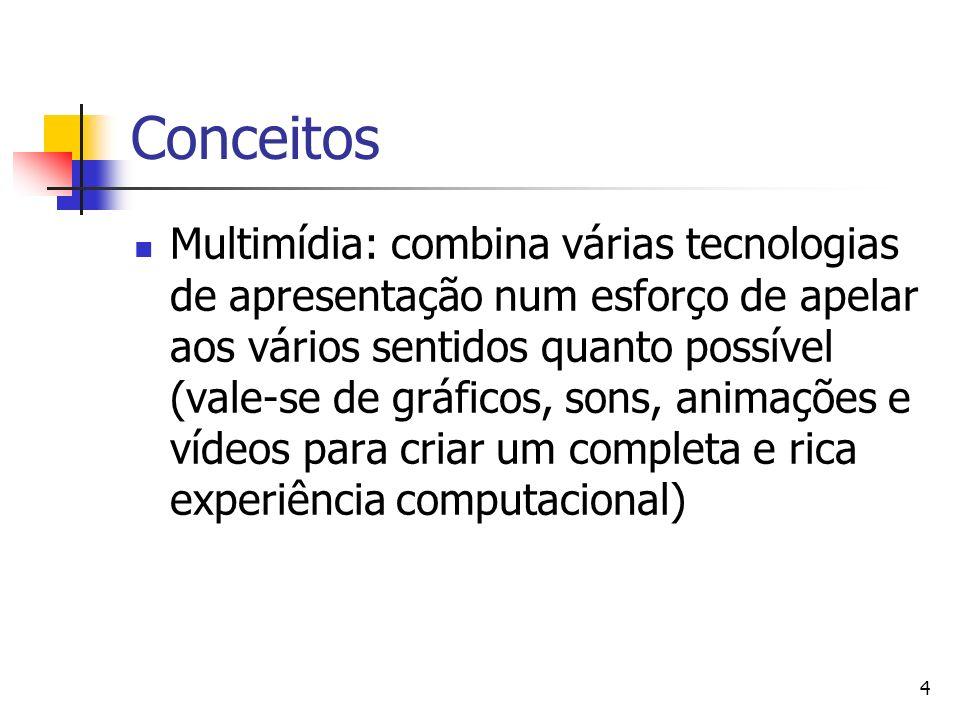 4 Conceitos Multimídia: combina várias tecnologias de apresentação num esforço de apelar aos vários sentidos quanto possível (vale-se de gráficos, sons, animações e vídeos para criar um completa e rica experiência computacional)