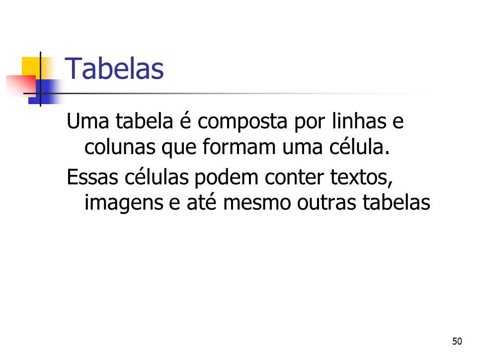 50 Tabelas Uma tabela é composta por linhas e colunas que formam uma célula.
