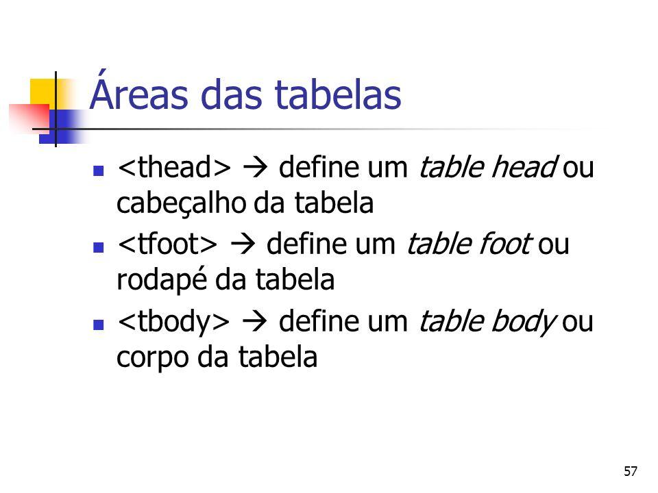 57 Áreas das tabelas define um table head ou cabeçalho da tabela define um table foot ou rodapé da tabela define um table body ou corpo da tabela