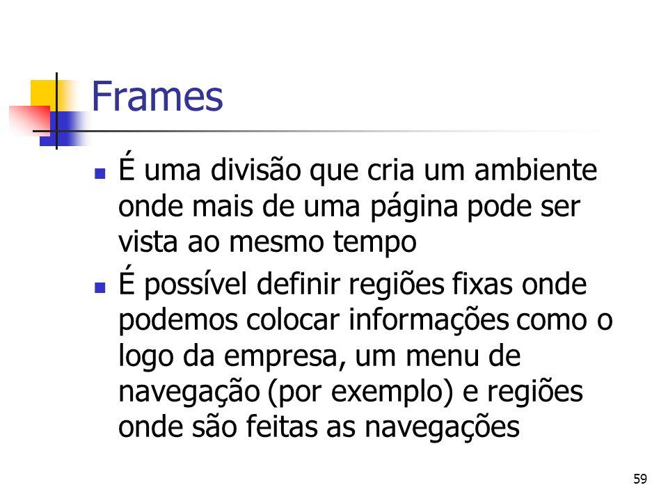 59 Frames É uma divisão que cria um ambiente onde mais de uma página pode ser vista ao mesmo tempo É possível definir regiões fixas onde podemos colocar informações como o logo da empresa, um menu de navegação (por exemplo) e regiões onde são feitas as navegações