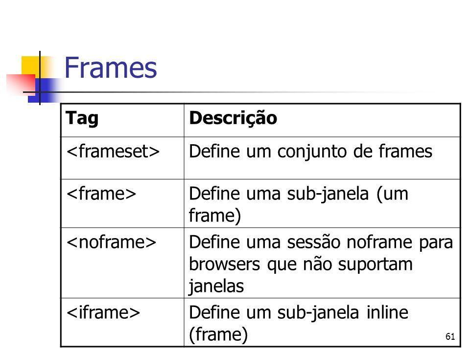 61 Frames TagDescrição Define um conjunto de frames Define uma sub-janela (um frame) Define uma sessão noframe para browsers que não suportam janelas Define um sub-janela inline (frame)
