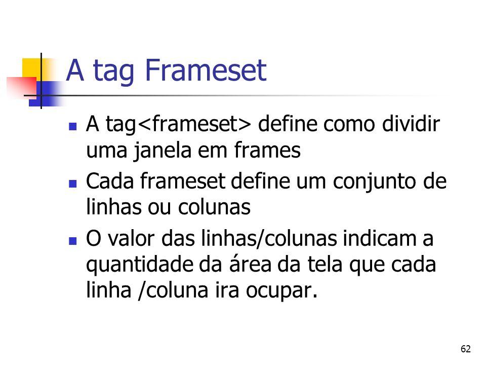62 A tag Frameset A tag define como dividir uma janela em frames Cada frameset define um conjunto de linhas ou colunas O valor das linhas/colunas indicam a quantidade da área da tela que cada linha /coluna ira ocupar.
