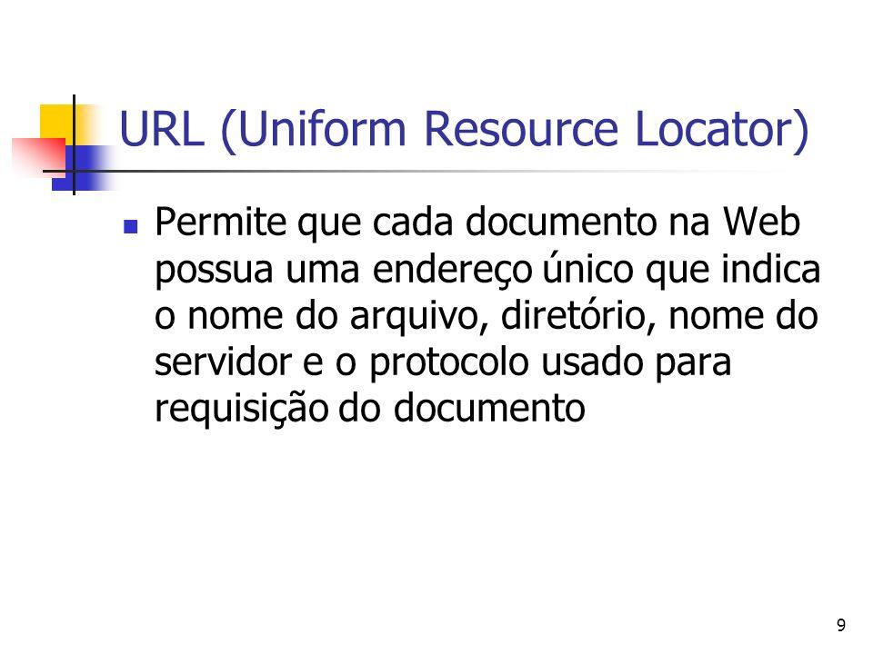 9 URL (Uniform Resource Locator) Permite que cada documento na Web possua uma endereço único que indica o nome do arquivo, diretório, nome do servidor e o protocolo usado para requisição do documento
