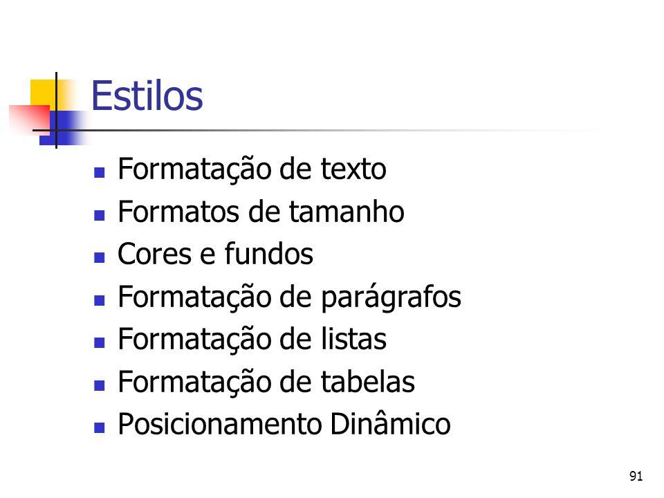 91 Estilos Formatação de texto Formatos de tamanho Cores e fundos Formatação de parágrafos Formatação de listas Formatação de tabelas Posicionamento Dinâmico