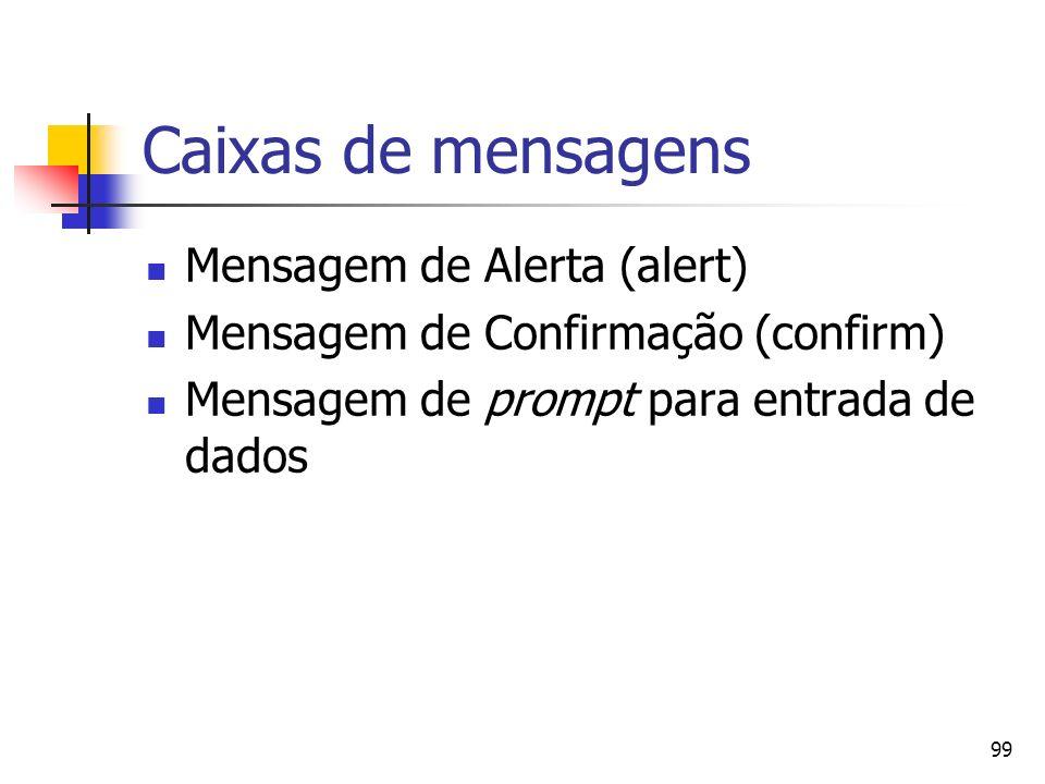 99 Caixas de mensagens Mensagem de Alerta (alert) Mensagem de Confirmação (confirm) Mensagem de prompt para entrada de dados