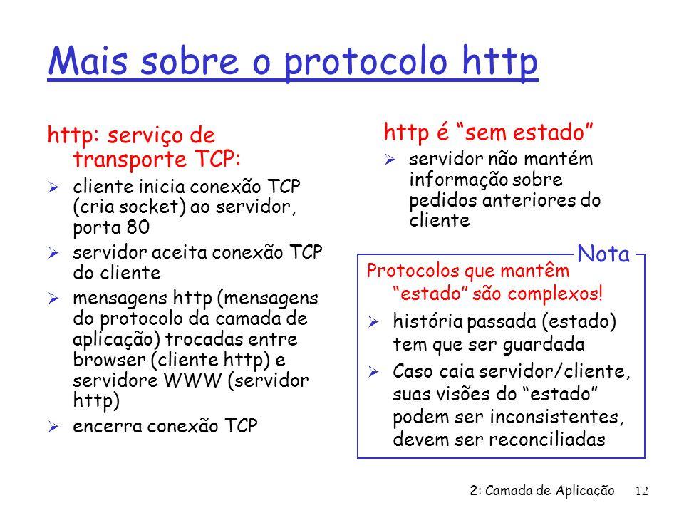 2: Camada de Aplicação12 Mais sobre o protocolo http http: serviço de transporte TCP: Ø cliente inicia conexão TCP (cria socket) ao servidor, porta 80