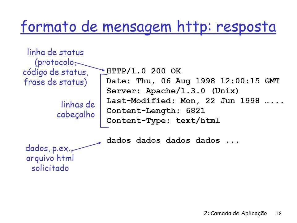2: Camada de Aplicação18 formato de mensagem http: resposta HTTP/1.0 200 OK Date: Thu, 06 Aug 1998 12:00:15 GMT Server: Apache/1.3.0 (Unix) Last-Modif
