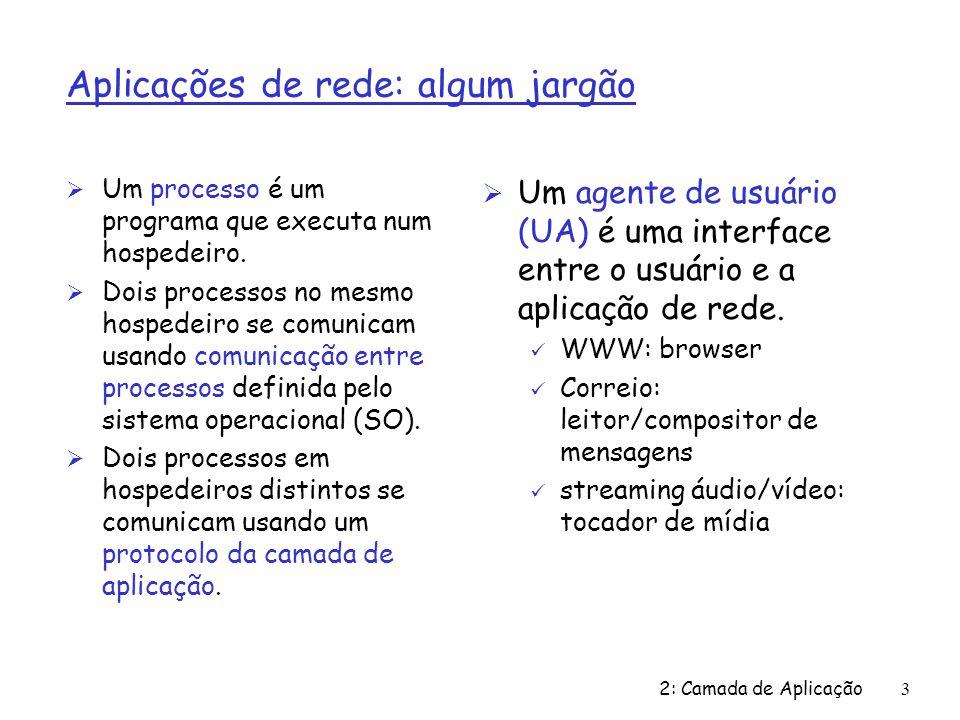 2: Camada de Aplicação3 Aplicações de rede: algum jargão Ø Um processo é um programa que executa num hospedeiro. Ø Dois processos no mesmo hospedeiro