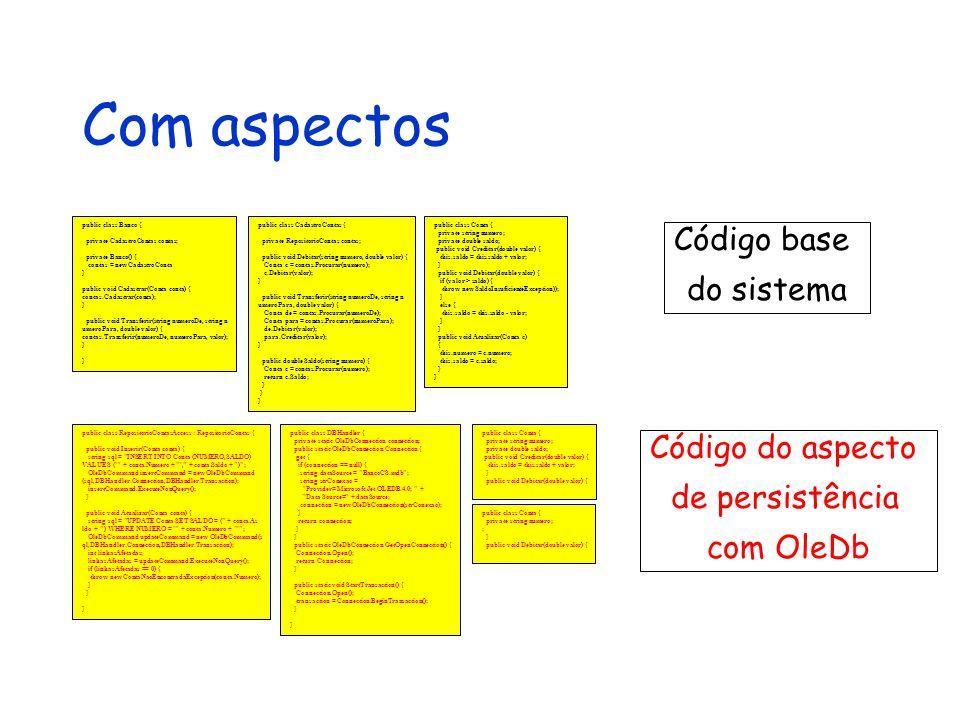 Com aspectos public class Conta { private string numero; private double saldo; public void Creditar(double valor) { this.saldo = this.saldo + valor; }