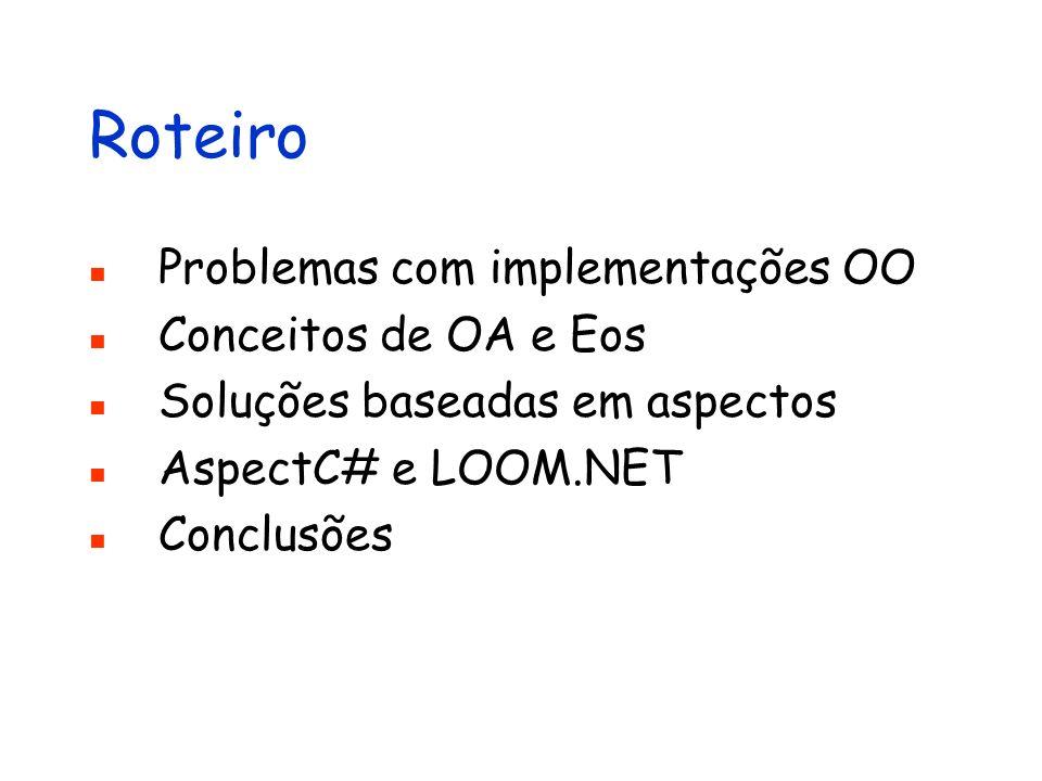 Roteiro Problemas com implementações OO Conceitos de OA e Eos Soluções baseadas em aspectos AspectC# e LOOM.NET Conclusões