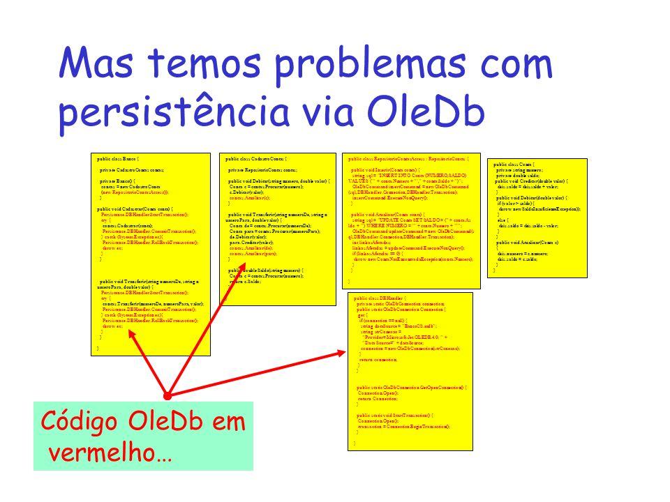 Mas temos problemas com persistência via OleDb public class Conta { private string numero; private double saldo; public void Creditar(double valor) {