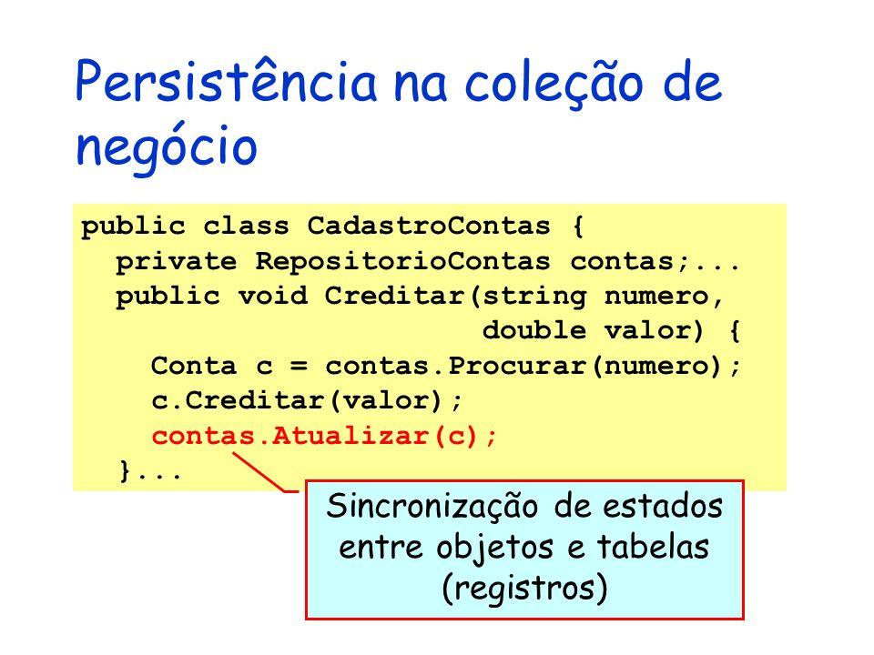 Persistência na coleção de negócio public class CadastroContas { private RepositorioContas contas;... public void Creditar(string numero, double valor