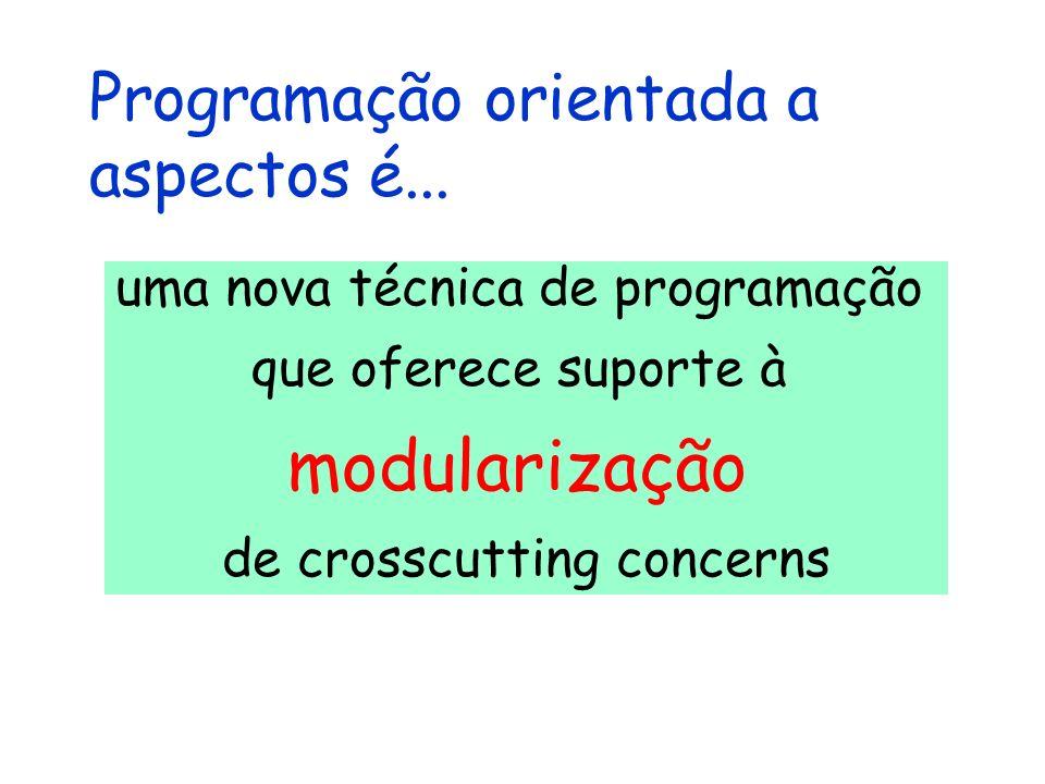 Programação orientada a aspectos é... uma nova técnica de programação que oferece suporte à modularização de crosscutting concerns