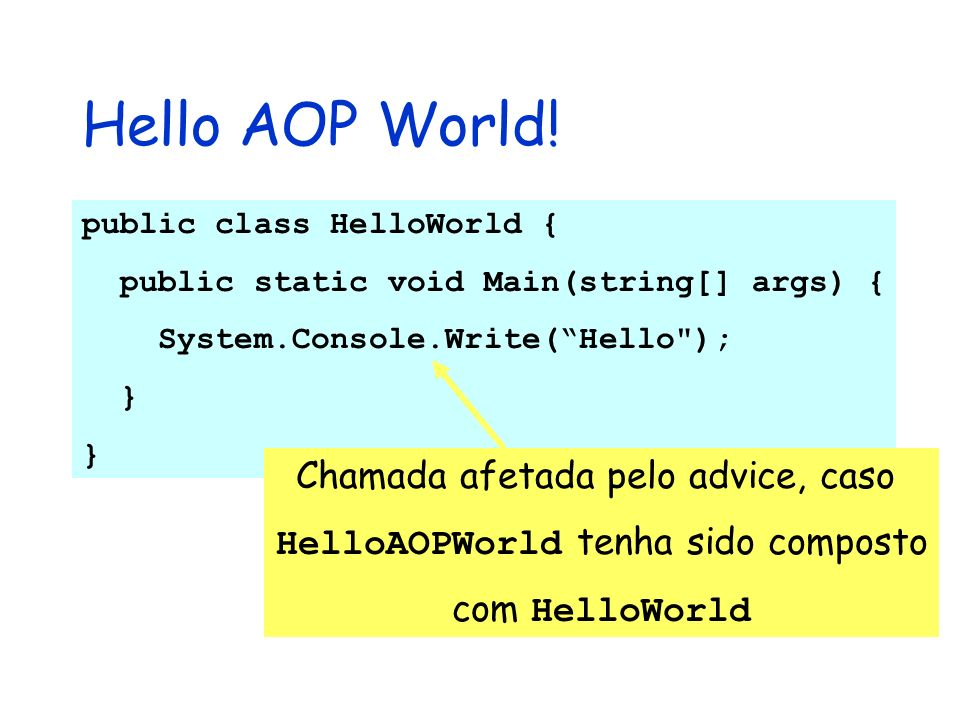 Hello AOP World! public class HelloWorld { public static void Main(string[] args) { System.Console.Write(Hello