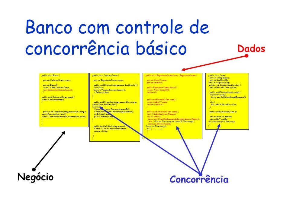 Banco com controle de concorrência básico public class Conta { private string numero; private double saldo; Private long timestamp; public void Credit