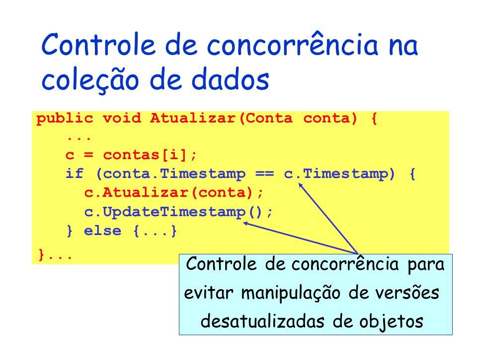 Controle de concorrência na coleção de dados public void Atualizar(Conta conta) {... c = contas[i]; if (conta.Timestamp == c.Timestamp) { c.Atualizar(