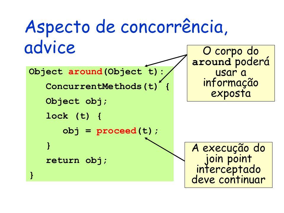 Aspecto de concorrência, advice Object around(Object t): ConcurrentMethods(t) { Object obj; lock (t) { obj = proceed(t); } return obj; } O corpo do ar