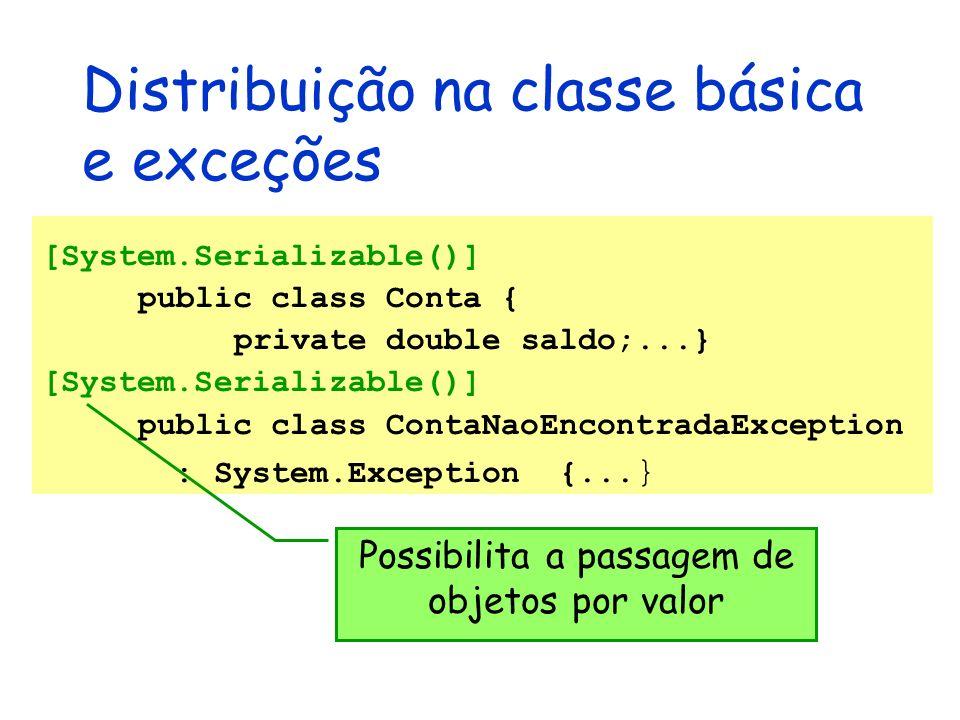 Distribuição na classe básica e exceções [System.Serializable()] public class Conta { private double saldo;...} [System.Serializable()] public class C