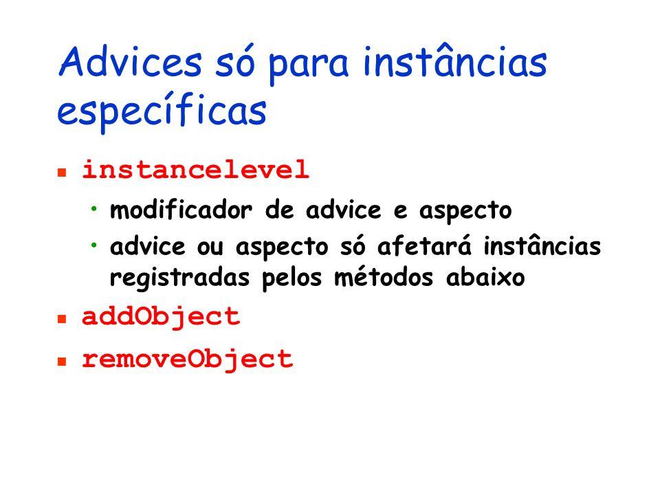 Advices só para instâncias específicas instancelevel modificador de advice e aspecto advice ou aspecto só afetará instâncias registradas pelos métodos