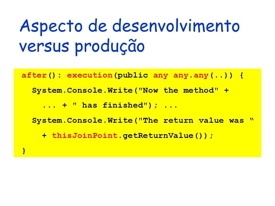 Aspecto de desenvolvimento versus produção after(): execution(public any any.any(..)) { System.Console.Write(