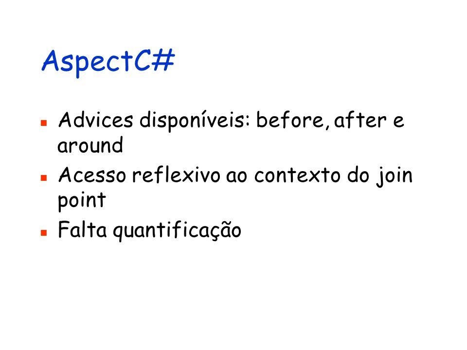 AspectC# Advices disponíveis: before, after e around Acesso reflexivo ao contexto do join point Falta quantificação
