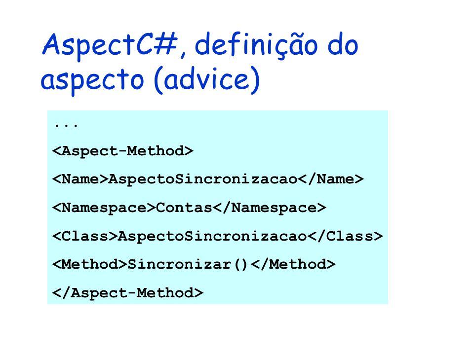 AspectC#, definição do aspecto (advice)... AspectoSincronizacao Contas AspectoSincronizacao Sincronizar()