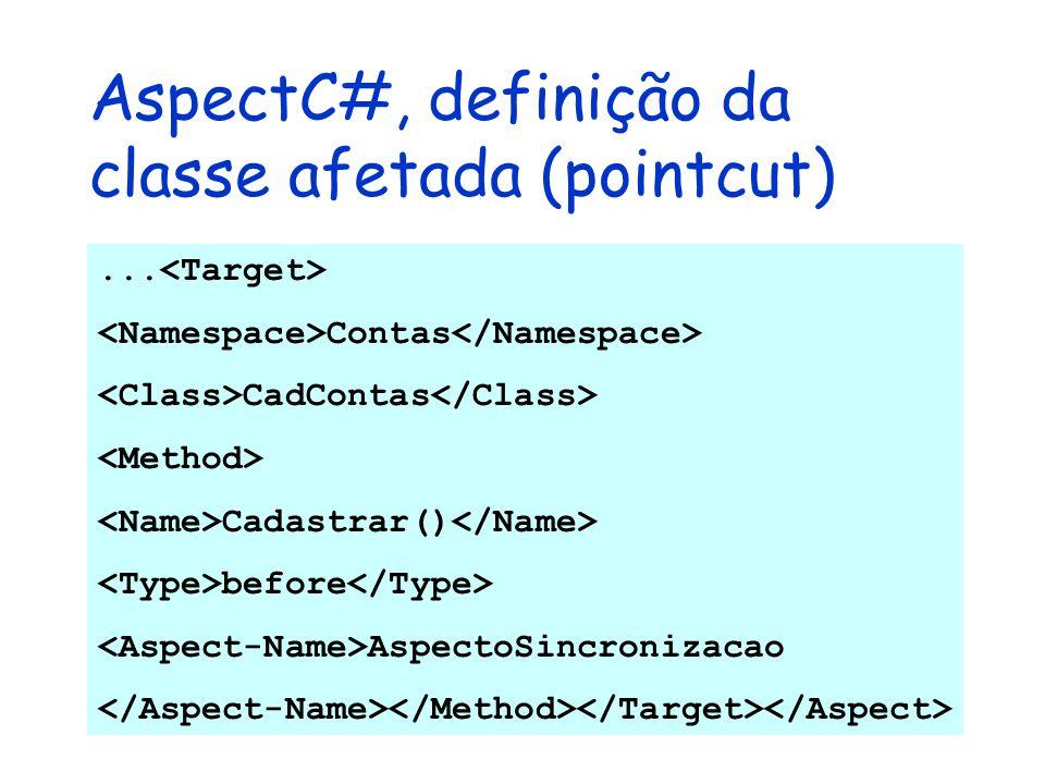 AspectC#, definição da classe afetada (pointcut)... Contas CadContas Cadastrar() before AspectoSincronizacao
