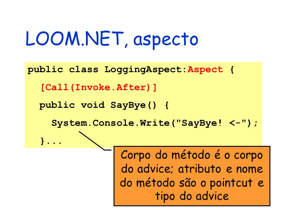 LOOM.NET, aspecto public class LoggingAspect:Aspect { [Call(Invoke.After)] public void SayBye() { System.Console.Write(