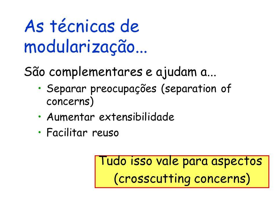 As técnicas de modularização... São complementares e ajudam a... Separar preocupações (separation of concerns) Aumentar extensibilidade Facilitar reus