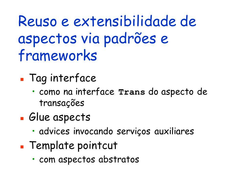 Reuso e extensibilidade de aspectos via padrões e frameworks Tag interface como na interface Trans do aspecto de transações Glue aspects advices invoc