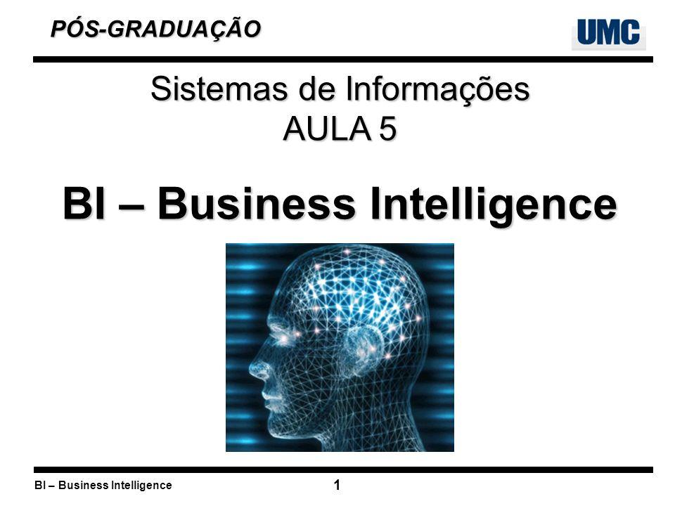 BI – Business Intelligence 1 PÓS-GRADUAÇÃO PÓS-GRADUAÇÃO Sistemas de Informações AULA 5 BI – Business Intelligence