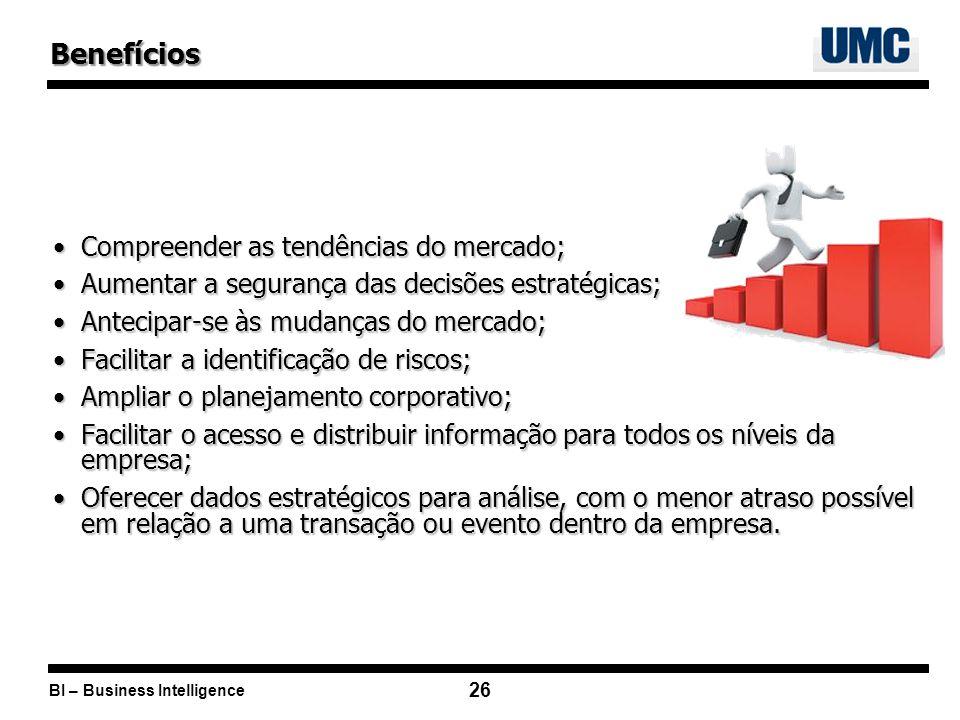 BI – Business Intelligence 26 Compreender as tendências do mercado;Compreender as tendências do mercado; Aumentar a segurança das decisões estratégica
