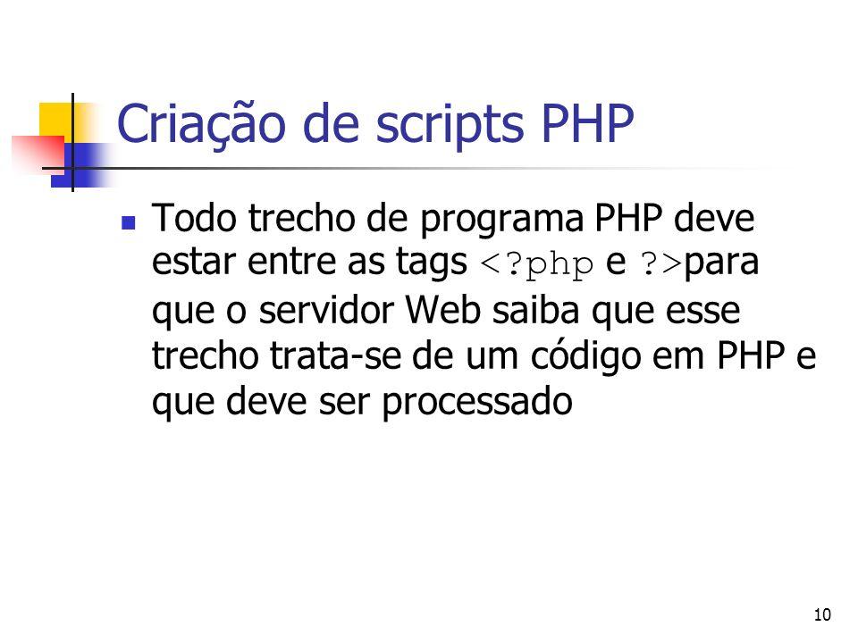 10 Criação de scripts PHP Todo trecho de programa PHP deve estar entre as tags para que o servidor Web saiba que esse trecho trata-se de um código em
