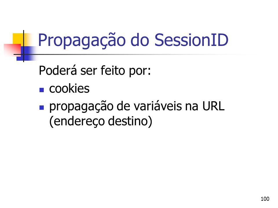100 Propagação do SessionID Poderá ser feito por: cookies propagação de variáveis na URL (endereço destino)