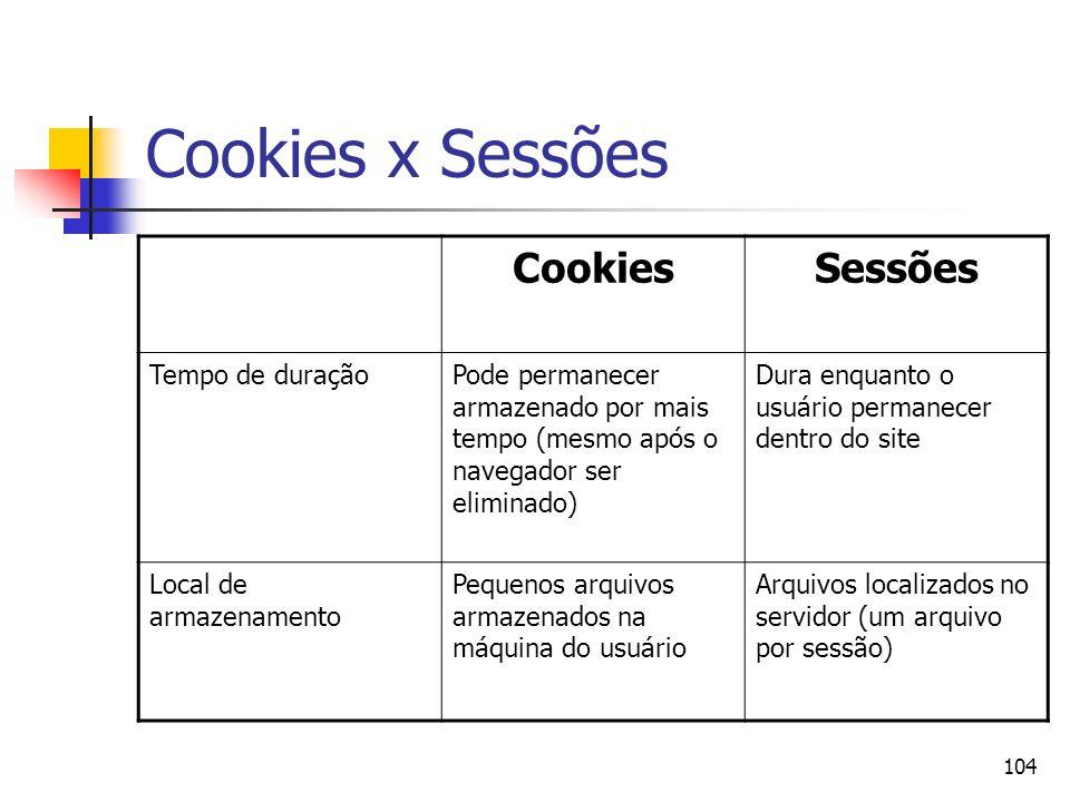 104 Cookies x Sessões CookiesSessões Tempo de duraçãoPode permanecer armazenado por mais tempo (mesmo após o navegador ser eliminado) Dura enquanto o