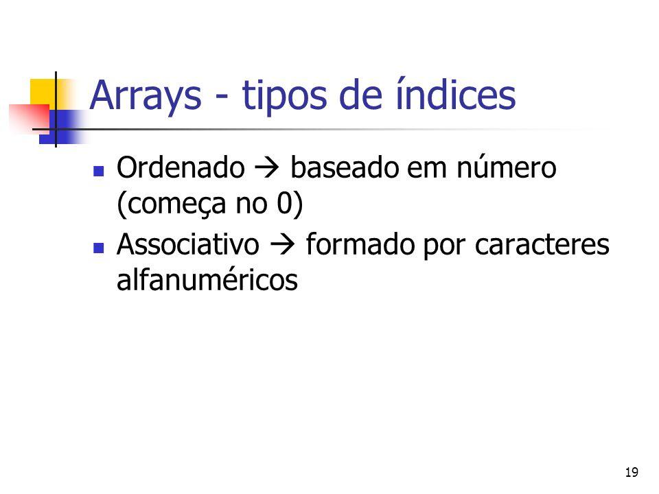 19 Arrays - tipos de índices Ordenado baseado em número (começa no 0) Associativo formado por caracteres alfanuméricos