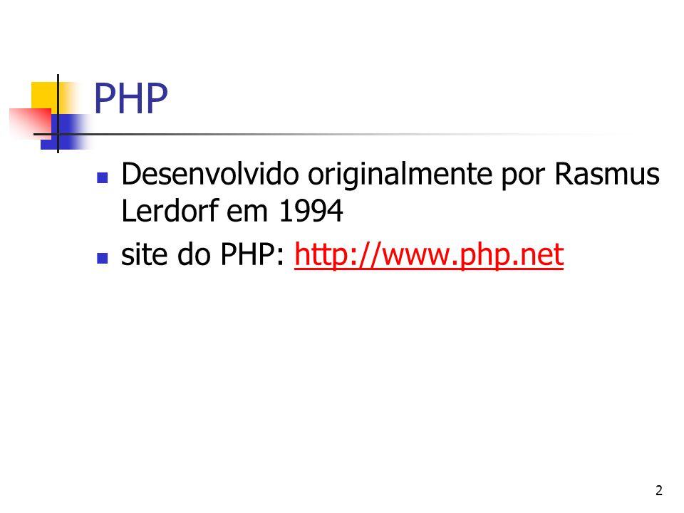 2 PHP Desenvolvido originalmente por Rasmus Lerdorf em 1994 site do PHP: http://www.php.nethttp://www.php.net